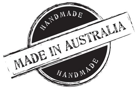 Timbre imprimé Fabriqué en Australie. Fait main. Illustration vectorielle