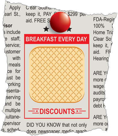 Announcement in the newspaper breakfast every day with waffles, discounts