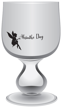 Empty absinthe-free glass for Absinthe Day celebration with fairy and text Absinthe Day, Stock Illustratie