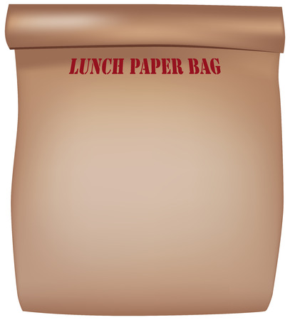 Classic brown paper bag made of thick paper for lunch Illustration