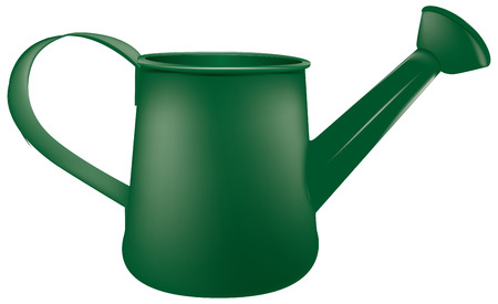 Traditional metal watering can. The sprayer is installed on the watering can
