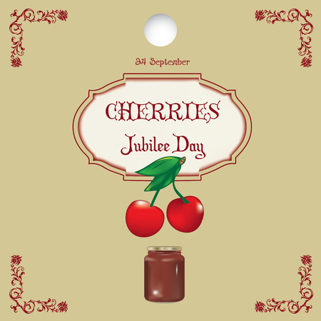 A popular day - Cherries Jubilee Day. Poster cherry and banks are willing to dessert