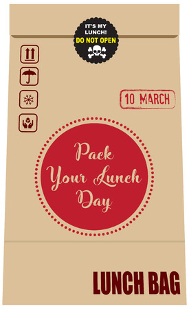 Illustration for Pack Your Lunch Day. Date Pack Your Lunch Day is celebrated in March. Packing with symbols corresponding to the date and paper bag for lunch