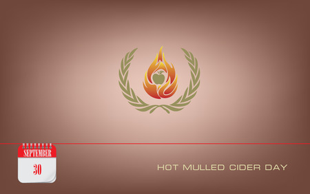Post card hot mulled cider day, the holiday is celebrated September 30 Imagens - 124404849