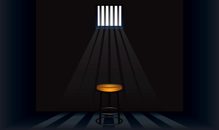 Old stool in the prison cell. Vector illustration.