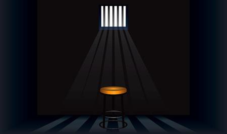 Taburete viejo en la celda de la prisión. Ilustración de vector.