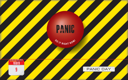 Postcard for holiday - National Panic Day. Do it right now - an industrial reminder to make a panic with a button - panic