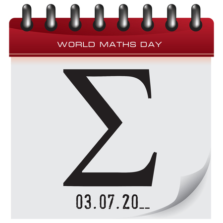 Mathematical symbol sigma on a piece of calendar to World Maths Day 矢量图像