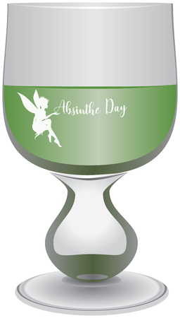 A glass filled with absinthe to celebrate Absinthe Day, with the fairy and the text Stock Illustratie