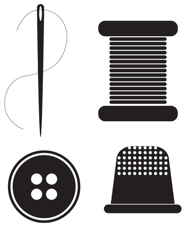 Symbols of sewing production of the most common tools