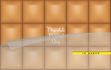 Chocolate Caramel Day. Chocolate Caramel Bar for March Celebration Chocolate Caramel Day. Banque d'images - 120432997