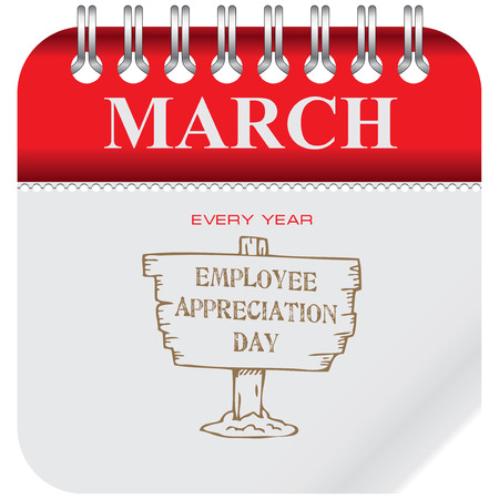 Calendar with holiday Employee Appreciation Day. Event reminder pointer