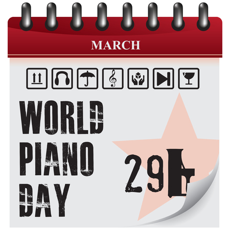 Calendar reminder of World Piano Day - March 29