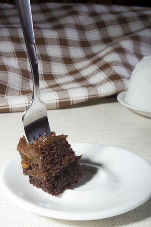 Cake with a fork in a plate on the dining table
