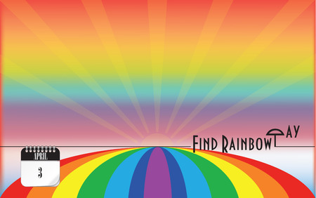 Post card Find Rainbow Day. Color seven-color.