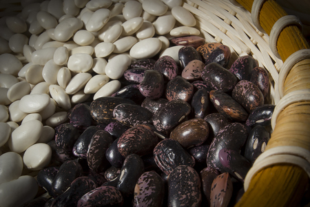 Beans in a wicker basket on the table