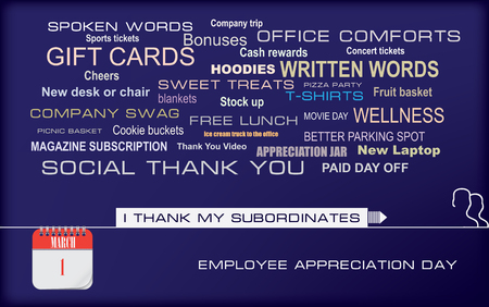 Postcard with options for gratitude to his subordinates. I thank my subordinates. Postcard Employee Appreciation Day