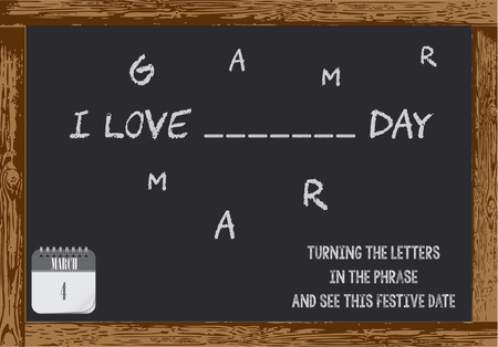 Poster for Grammar Day. Turning the letters in the phrase and see this festive date