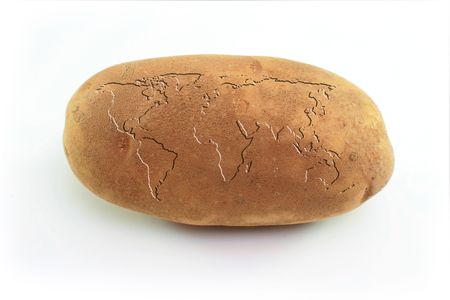 The world card is placed on a potato.