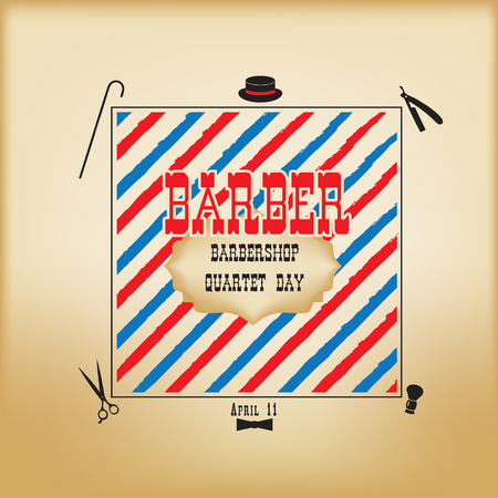 Banner for the historic holiday Barbershop Quartet Day. Elements and tools barbershop. 일러스트