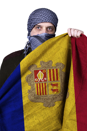 Arab in his hands holding a flag of Andorra