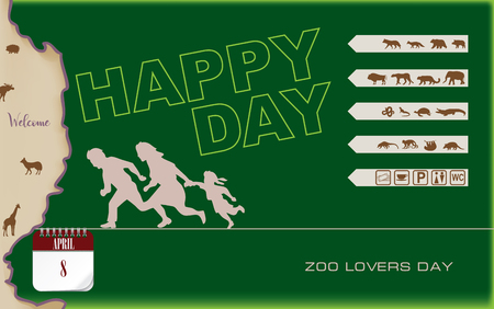 Post card Zoo Lovers Day. Poster inviting to visit the zoo with the family.