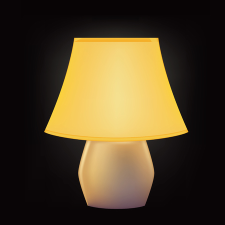 Included table lamp with lampshade. Vector illustration.
