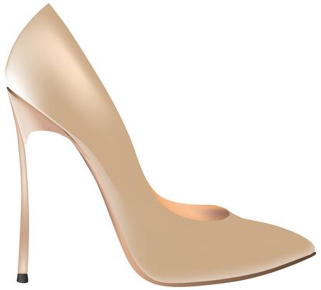 Zapatos de mujer beige, Tacón alto. Ilustración de vector.