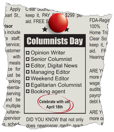 Scrap of the newspaper page with the Columnists Day Announcement