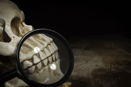 Skull and magnifier on old wooden table