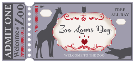 A symbolic ticket to the zoo for the day - Zoo Lovers Day. Welcome to the zoo. Free all day