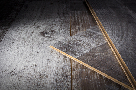 Laying laminate flooring. Laminate sheets on the floor. Foto de archivo - 123271562