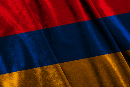 State flag of Armenia from velvet fabric