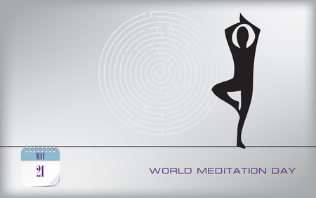Post card World Meditation Day. Calendar event.