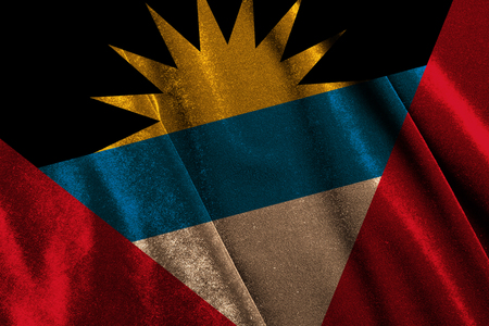 National flag Antigua and Barbuda on velvet fabric