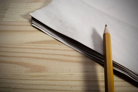 Stationery set on a wooden floor background. Stock Photo