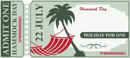 Invitation card for Hammock Day. Holiday for one.