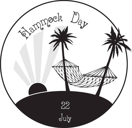 Stamp print for the date Hammock Day. The holiday is celebrated on July 22. Palm trees and hammock.