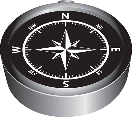 Black surface of the magnetic compass with white designation