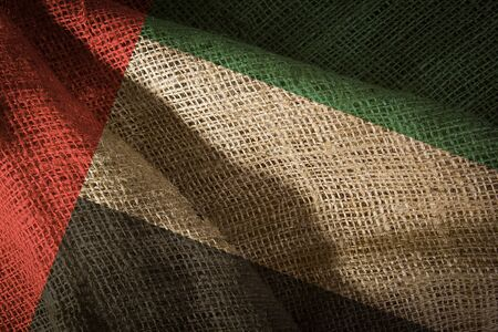 The state flag of coarse fabric United Arab Emirates 스톡 콘텐츠