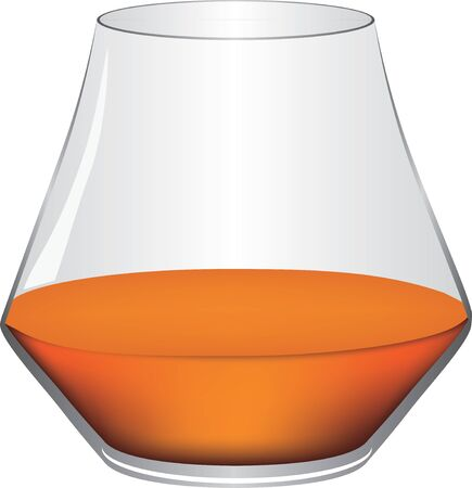 Classic cognac glass with a drink. Vector illustration.