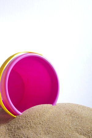 Childrens beach toys - buckets and spade on sand Reklamní fotografie