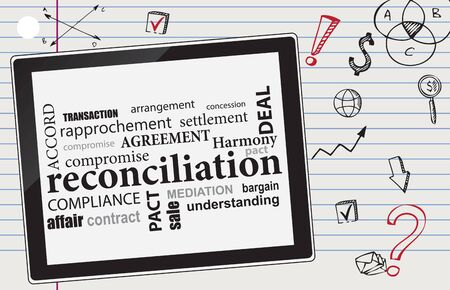 Business theme built around reconciliation. Synonyms for the word of reconciliation