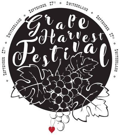 Symbol of the Grape Harvest Festival. September 27th celebration in Switzerland Ilustracja