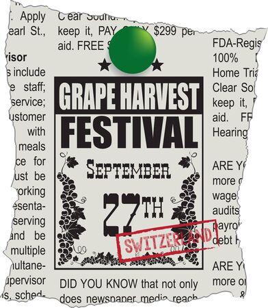 Zeitungsankündigung Traubenernte-Festival in der Schweiz Vektorgrafik