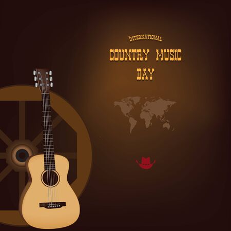 Banner for International Country Music Day. Vector illustration.