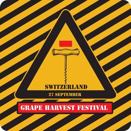 Industrial sign Grape Harvest Festival in Switzerland.