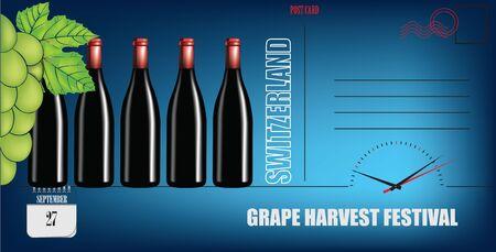 Post card for date Grape Harvest Festival in Switzerland. Holiday dates in September. Ilustracja