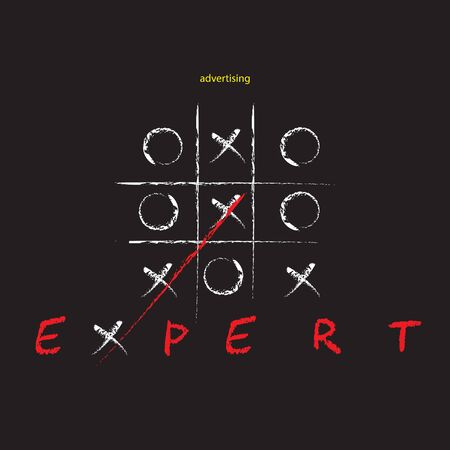Poster advertising expert with tic tac toe game