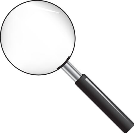 Standard magnifier for enlarging an image. Vector illustration.